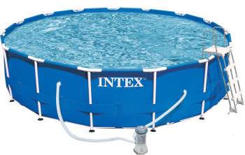 intex metal frame pool 457 x 107 cm komplett set frame pool swimmingpool preisvergleich. Black Bedroom Furniture Sets. Home Design Ideas