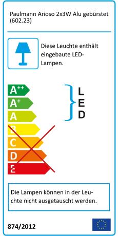 Paulmann 602.23 Arioso LED Strahler Spotlights 2x3W Alu gebürstet Warmweiß Lampe