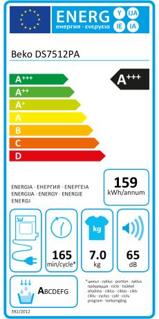 7kg BabyProtect Beko DS7511PA A+++ Wärmepumpentrockner FlexySense