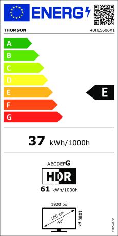 Etiqueta de eficiencia energética THOMSON 40FE5606 Full HD 40
