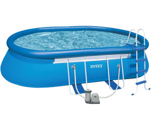 Intex oval frame pool 366 x 610 x 122 cm mit for Garten pool 366x122