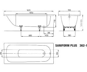 kaldewei saniform plus 362 1 160 x 70 cm au meilleur prix. Black Bedroom Furniture Sets. Home Design Ideas