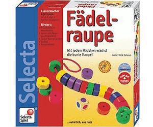 Selecta Spielzeug Fädelraupe Fädel Spiel Kinderspiel Kinderspielzeug Holz 20 cm
