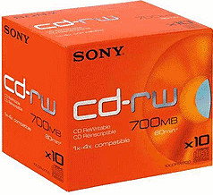 Sony CD-RW 700MB 80min 4x 10er Jewelcase