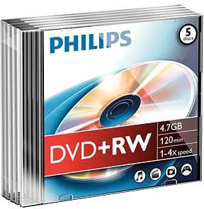 Philips DVD+RW 4,7 GB 4x 5er Slimcase