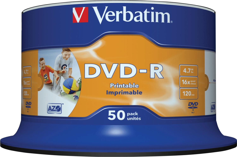 Verbatim DVD-R 4,7GB 16x Wide Inkjet bedruckbar...