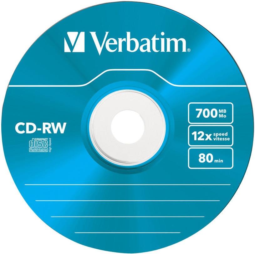 Verbatim CD-RW 700MB 80min 12x Hi-Speed Colour ...