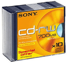 Sony CD-RW 700MB 80min 10x 10er Slimcase
