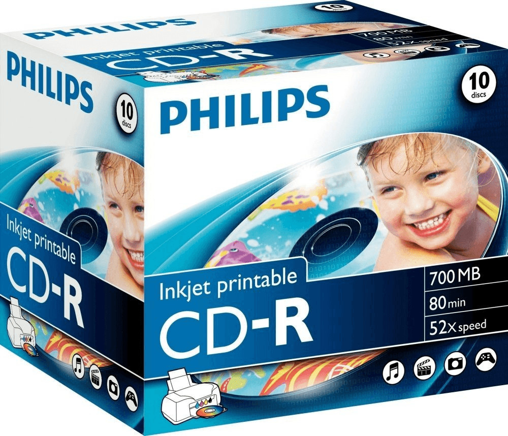 Philips CD-R 700MB 80min 52x bedruckbar 10er Jewelcase