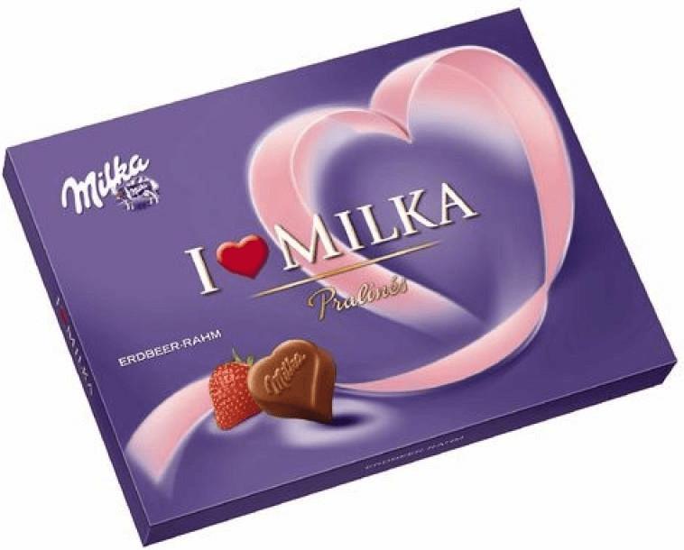Milka I Love Milka Erdbeer-Rahm Pralinés (125 g)