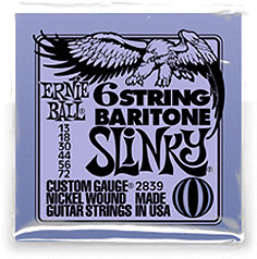 Image of ERNIE BALL 6-string Baritone Slinky w/ small ball end 29 5/8 scale .013p - .072