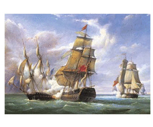 "Image of Castorland Combat between the French Frigate ""La Canonniere"" and the English Vessel ""The Tremendous"""