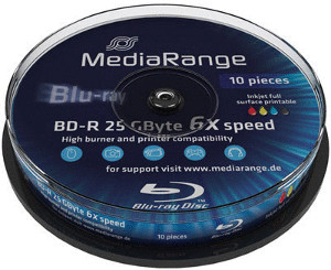Image of MediaRange BD-R 25GB 135min 6x Inkjet Fullsurface printable 10pk Spindle
