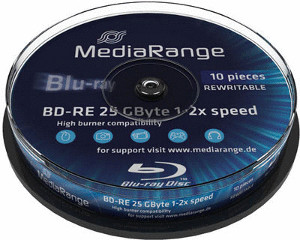 Image of MediaRange BD-RE 25GB 135min 2x 10pk Spindle