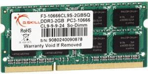 Image of G.SKill 2GB SO-DIMM DDR3 PC3-10600 (F3-10666CL9S-2GBSQ) CL9