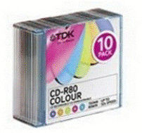 TDK CD-R 700MB 80min 52x Color Mix Colour 10er ...