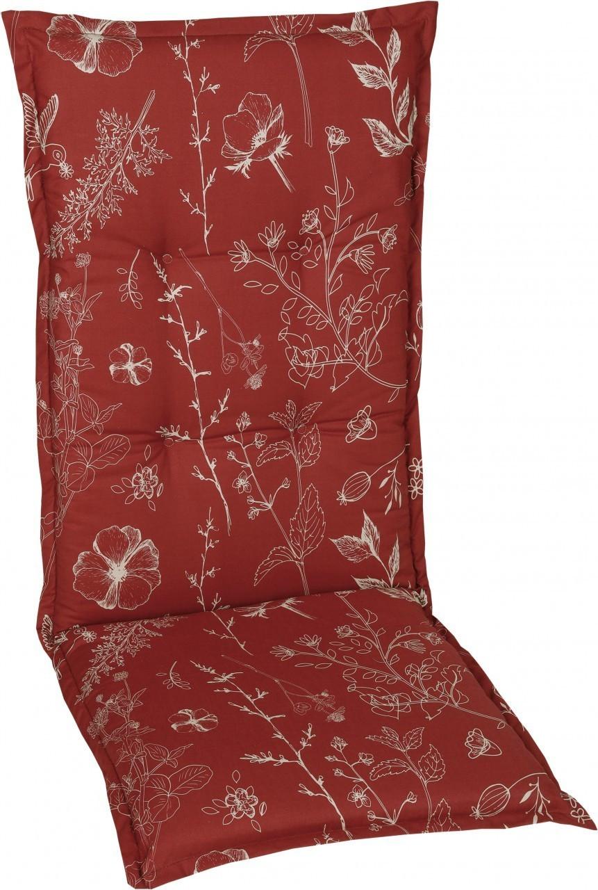 GO-DE Sesselauflage hoch 120 x 50 x 6 cm Blumen rot
