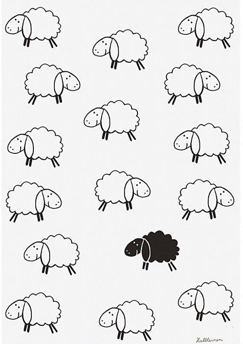 Kracht Geschirrtuch Set 2-teilig Schafe 45 x 70 cm