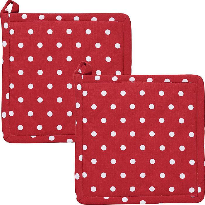 REDBEST Topflappen Set 2-teilig Punkte 20 x 20 cm rot