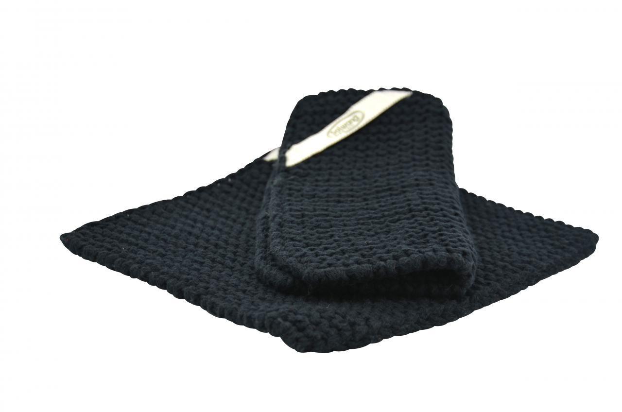 Solwang Topflappen gestrickt schwarz