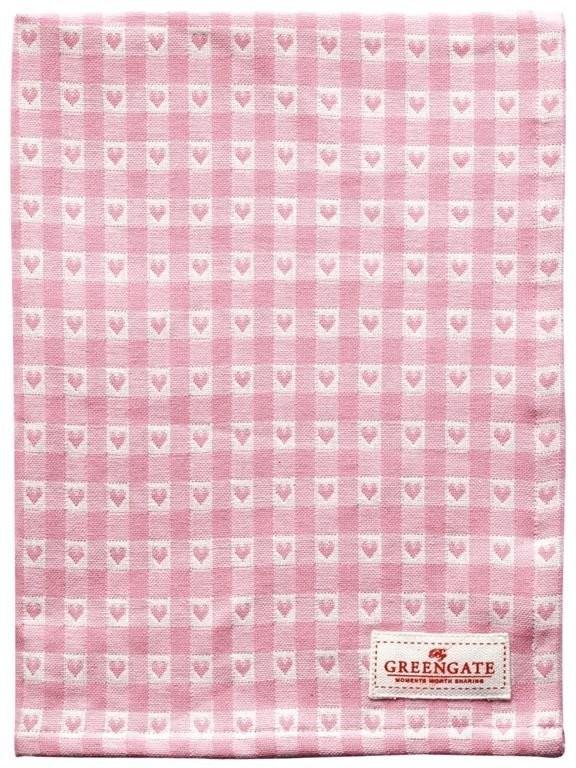 Greengate Heart Geschirrtuch petit pale pink 50 x 70 cm