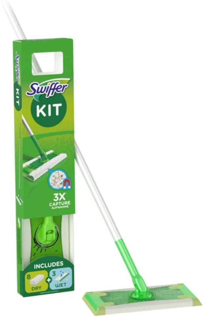 Swiffer Bodenstarter mit Stiel, Trocken- und Feuchttücher Stiel 1,20 m, 8 Trockentücher, 3 Feuchttücher, Wischer 25 cm