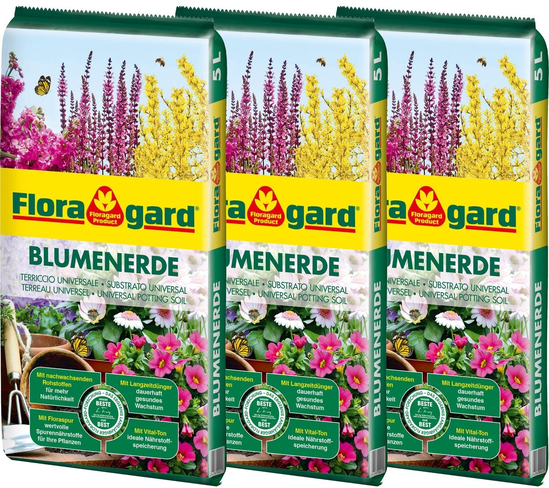 Floragard Blumenerde 15 Liter (3 x 5 Liter)