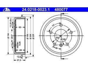 ATE 24.0218-0023.1 Bremstrommel