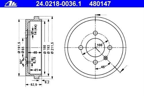 ATE 24.0218-0036.1 Bremstrommel
