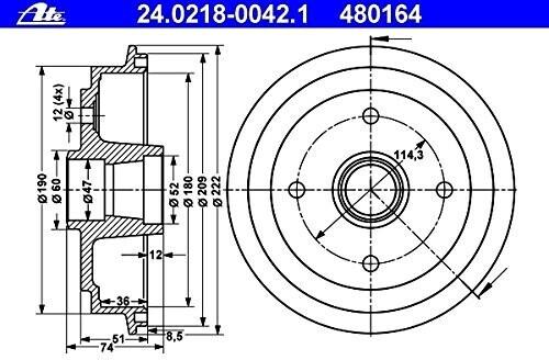 ATE 24.0218-0042.1 Bremstrommel
