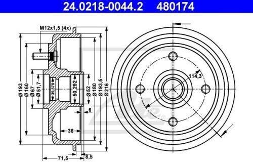 ATE 24.0218-0044.2 Bremstrommel