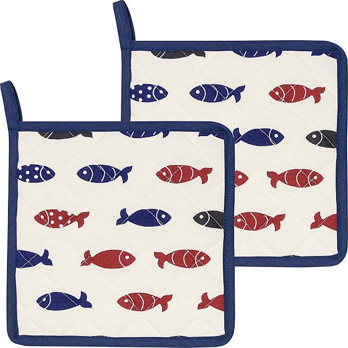 Kracht Topflappen Set 2-teilig Little Fish blau/rot/weiß 22 x 22 cm
