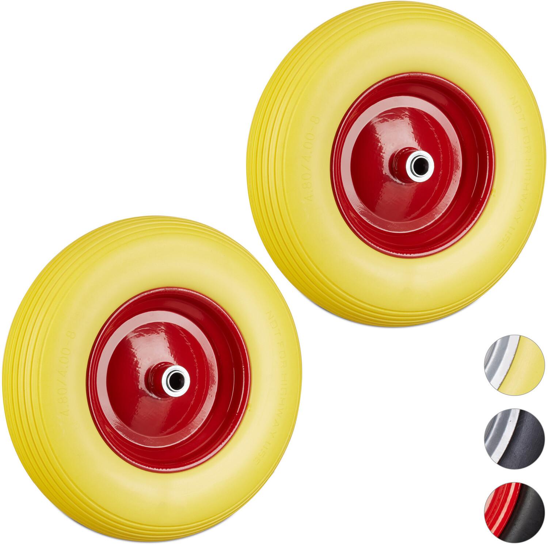 Relaxdays Vollgummireifen 2x gelb-rot (8100283048554)