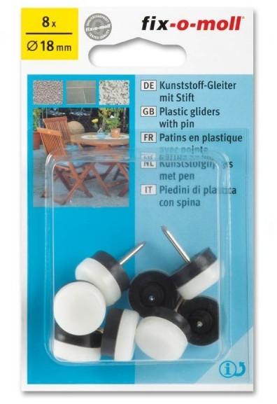Fix-o-moll Kunststoffgleiter mit Stift rund 18mm weiß