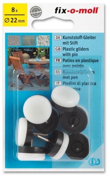 Fix-o-moll Kunststoffgleiter mit Stift rund 22mm weiß