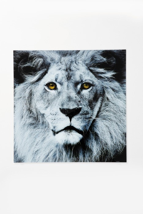 KARE Glasbild Lion Face 80 x 80 cm