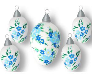 Krebs Lauscha Glas-Ostereier Blüten 10 cm 5er-Set