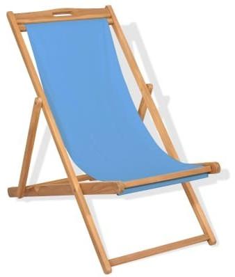vidaXL Deck Chair Teak Blue