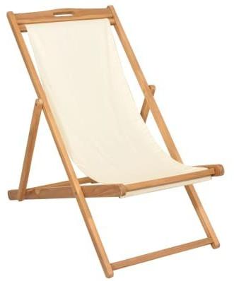 vidaXL Deck Chair Teak Beige