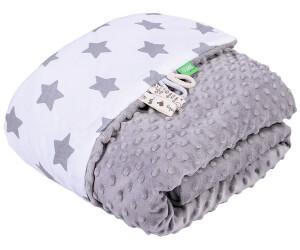 Lulando Babydecke Minky sterne weiß/grau