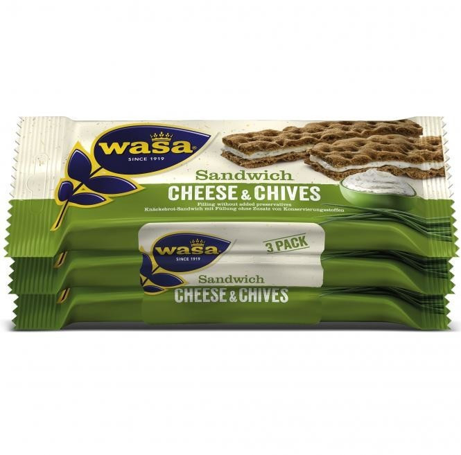 Wasa Knäckebrot-Sandwich Käse & Schnittlauch Cheese & Chives 3er-Pack (111g)
