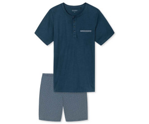 Schiesser Herren Schlafanzug Pyjama blau Interlock Gr.48-58 NEU