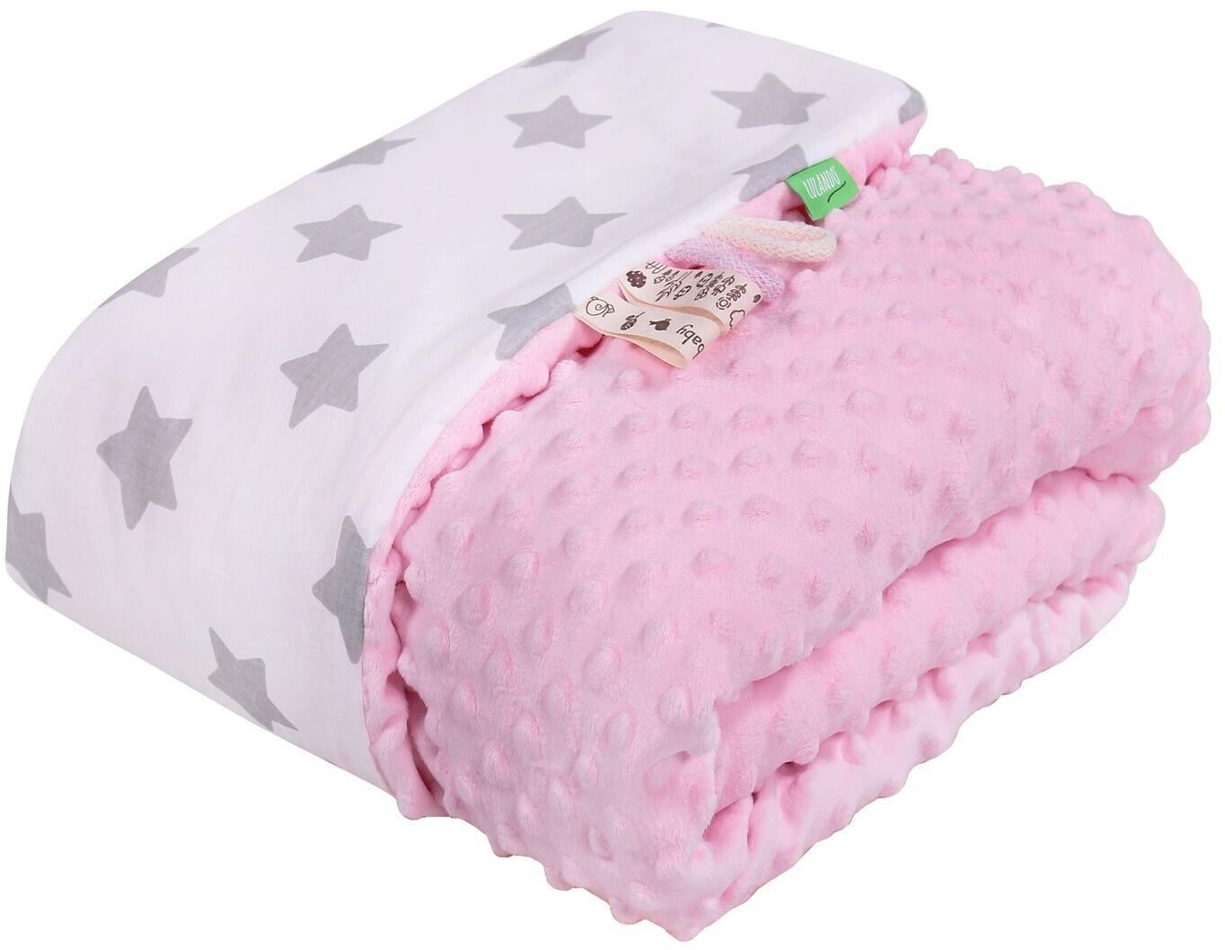 Lulando Babydecke Minky pink/weiß graue sterne