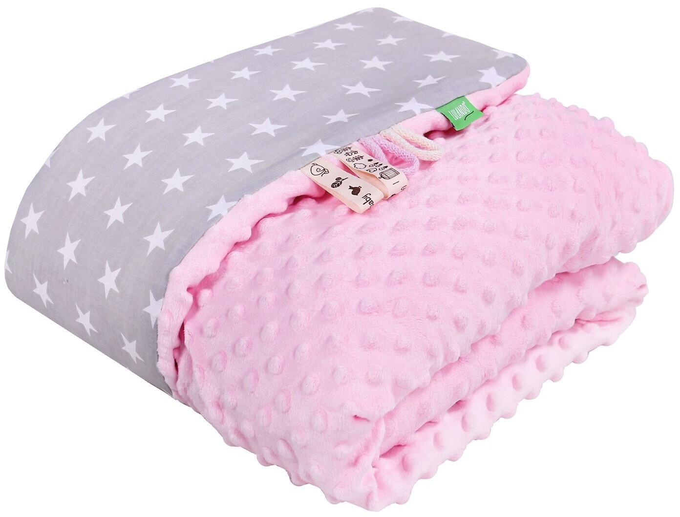Lulando Babydecke Minky pink/graue sterne