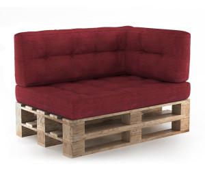 VICCO Set Sitzkissen + Rückenkissen + Seitenkissen Höhe 15cm rot