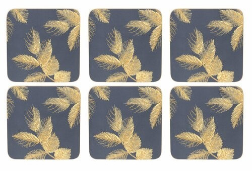 Pimpernel Etched Leaves Glasuntersetzer 6er Pack Navy