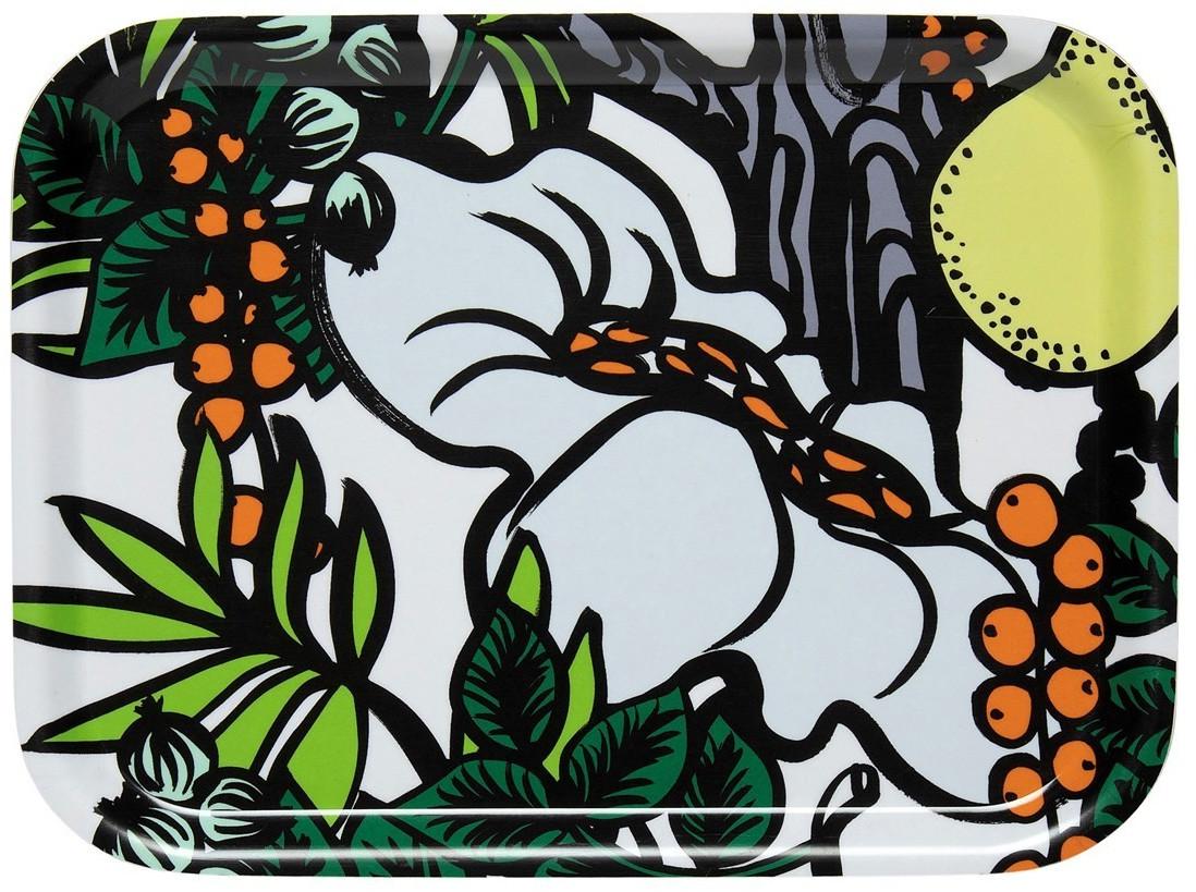 Marimekko Pala Taivasta Tablett 20 x 27cm weiß-orange-gelb