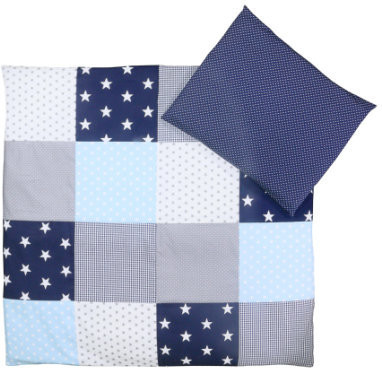 Image of Ullenboom Patchwork Bedding-Set blue/light blue/grey