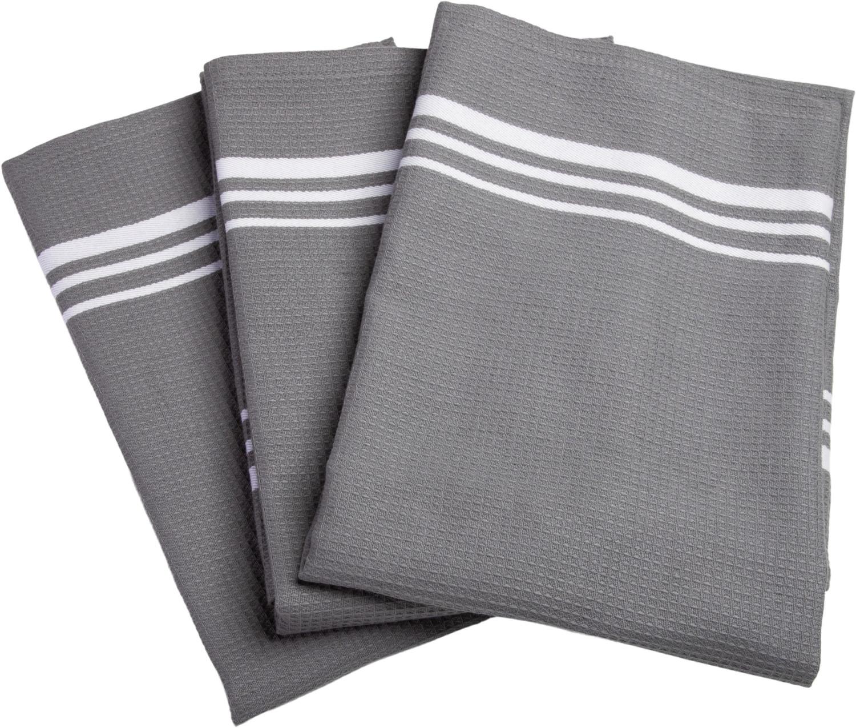 """Stuco Geschirrtuch """"Waffel farbig"""" (Set 3-tlg) grau-weiß"""