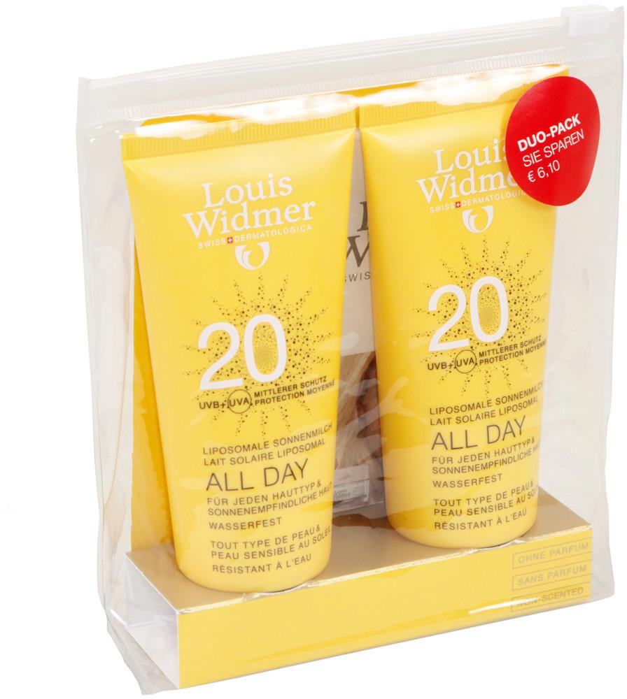 Louis Widmer All Day Sonnencreme ohne Parfum SPF 20 (2x 100 ml)
